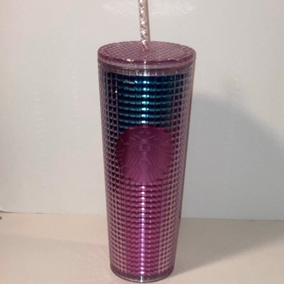 Starbucks 2021 Disco Blue Pink Ombre Grid Tumbler
